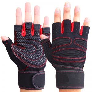 half-fingered glove with wrist wrap