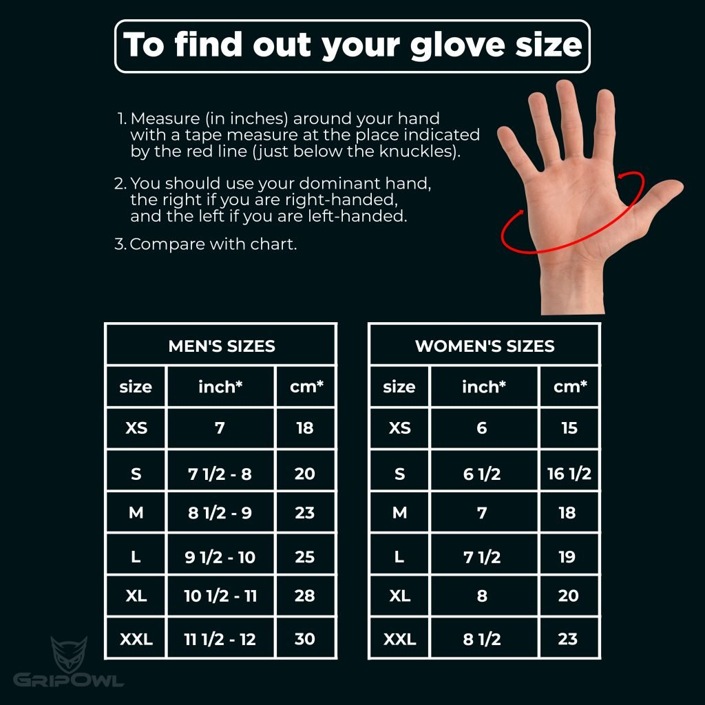 Workout Gloves Size Chart: Workout Glove With Wrist Wrap For Weight Training